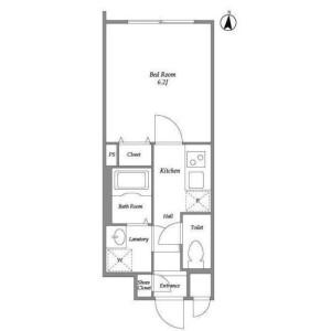 1K Mansion in Tairamachi - Meguro-ku Floorplan