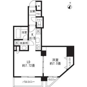 1LDK Mansion in Sangenjaya - Setagaya-ku Floorplan