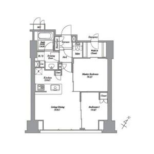 2LDK Mansion in Takanawa - Minato-ku Floorplan