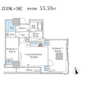 2LDK 맨션 in Shibaura(2-4-chome) - Minato-ku Floorplan