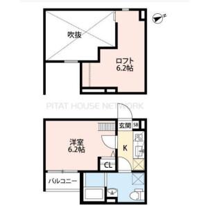 1K Mansion in Miyauchicho - Amagasaki-shi Floorplan