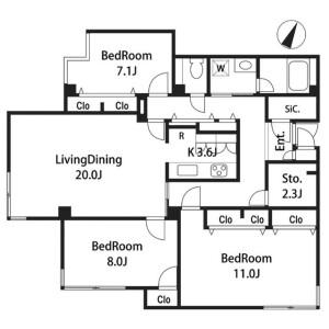 3SLDK 맨션 in Mita - Meguro-ku Floorplan
