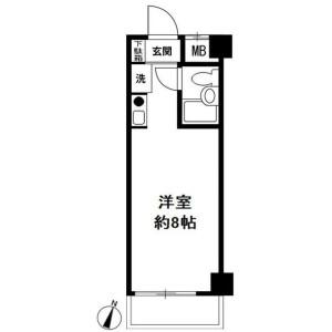 1R Mansion in Tsurumichuo - Yokohama-shi Tsurumi-ku Floorplan