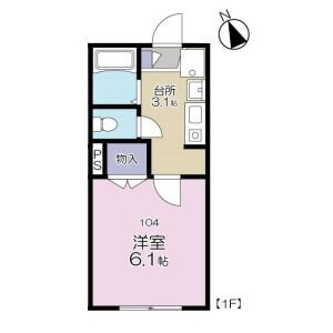 1K Apartment in Tobitakyu - Chofu-shi Floorplan
