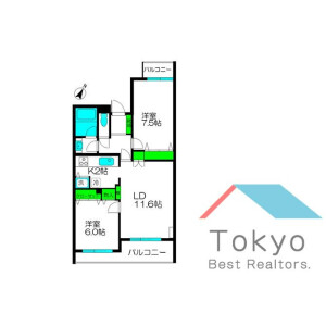 2LDK Mansion in Nakai - Shinjuku-ku Floorplan