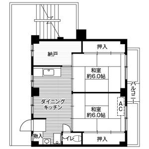 船橋市二和東-2DK公寓大廈 房間格局