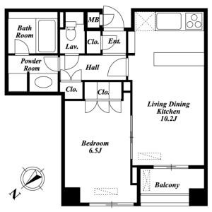 1LDK Mansion in Takanawa - Minato-ku Floorplan