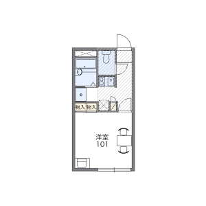 1K Apartment in Kaigancho - Hakodate-shi Floorplan