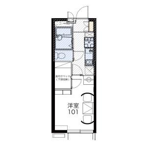 1K 아파트 in Senju midoricho - Adachi-ku Floorplan