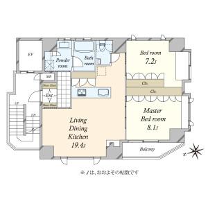 2LDK {building type} in Azabujuban - Minato-ku Floorplan