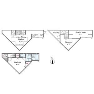 目黒区五本木-2SLDK{building type} 楼层布局
