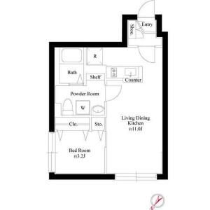 1LDK Mansion in Nakaochiai - Shinjuku-ku Floorplan