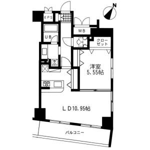 1LDK Mansion in Nihombashiningyocho - Chuo-ku Floorplan