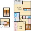 1LDK Apartment to Rent in Ibaraki-shi Floorplan