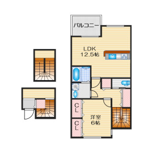 1LDK Apartment in Teradacho - Ibaraki-shi Floorplan