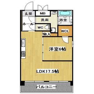1LDK Mansion in Nippombashi - Osaka-shi Naniwa-ku Floorplan