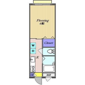 世田谷区奥沢-1K公寓 楼层布局