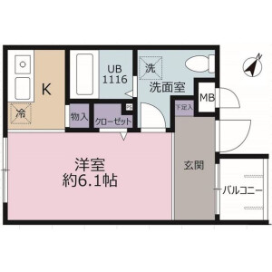 1R Mansion in Nishinarashino - Funabashi-shi Floorplan