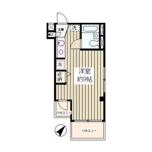 1R Mansion in Sarue - Koto-ku Floorplan
