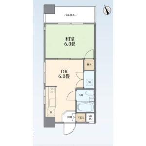 1DK {building type} in Higashigokencho - Shinjuku-ku Floorplan