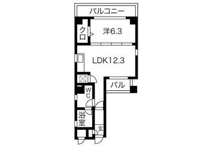 1LDK Apartment to Rent in Nagoya-shi Higashi-ku Floorplan