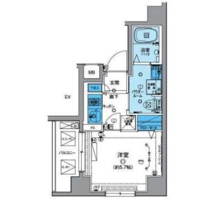 1K Mansion in Kyoshincho - Yokohama-shi Minami-ku Floorplan