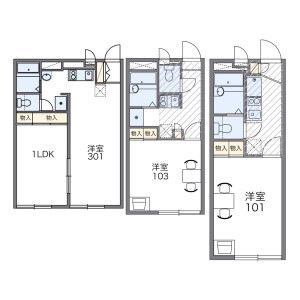 1LDK Apartment in Nishiaraihoncho - Adachi-ku Floorplan