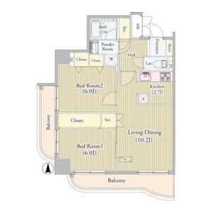 2LDK Mansion in Takadanobaba - Shinjuku-ku Floorplan