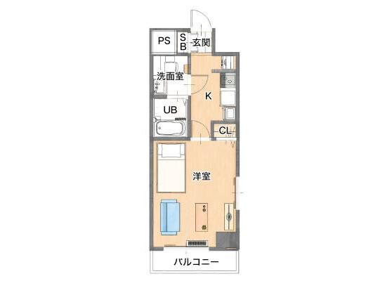 在横浜市港北区内租赁1K 公寓大厦 的 楼层布局