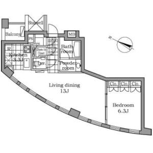 1LDK 맨션 in Akasaka - Minato-ku Floorplan