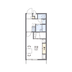 1K Apartment in Nishiyahata - Kai-shi Floorplan
