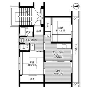 3DK Mansion in Kitaobayamacho - Ube-shi Floorplan
