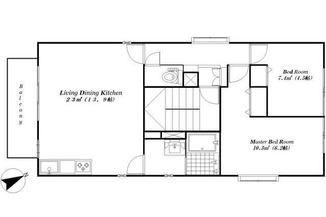 在港区内租赁2LDK 公寓大厦 的 楼层布局