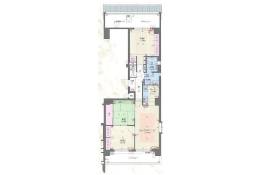 3LDK Apartment to Buy in Kyoto-shi Higashiyama-ku Floorplan