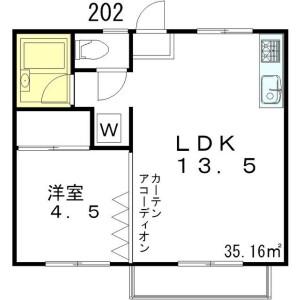 1LDK Apartment in Kitazawa - Setagaya-ku Floorplan