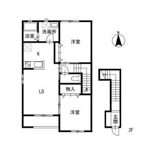 2LDK Apartment in Shikoda - Kashiwa-shi Floorplan