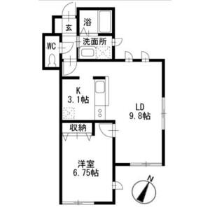 1LDK Apartment in Tsuboihigashi - Funabashi-shi Floorplan