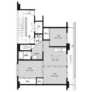 3DK Mansion in Kasuga - Kumamoto-shi Nishi-ku Floorplan