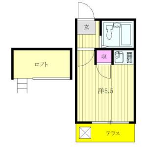 1R Apartment in Shimizugaoka - Fuchu-shi Floorplan