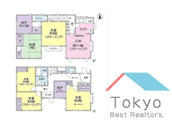 5SLDK House to Rent in Shinjuku-ku Floorplan