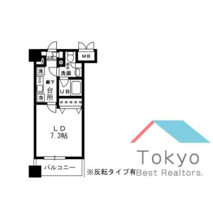 新宿區荒木町-1K公寓大廈 房間格局