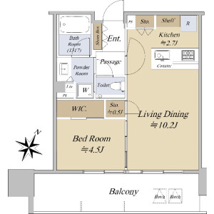 1LDK {building type} in Ariake - Koto-ku Floorplan