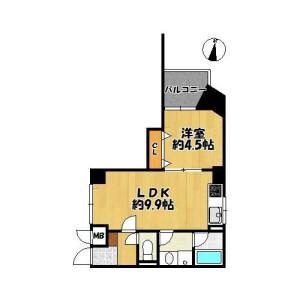 1LDK {building type} in Maruyamadori - Osaka-shi Abeno-ku Floorplan