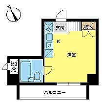 1R Mansion in Senzoku - Taito-ku Floorplan