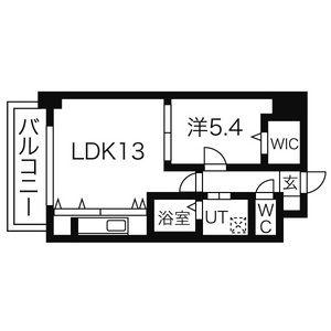 1LDK Mansion in Marunouchi - Nagoya-shi Naka-ku Floorplan