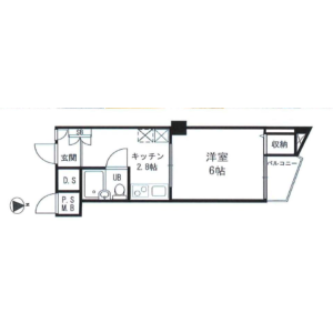 1DK {building type} in Roppongi - Minato-ku Floorplan