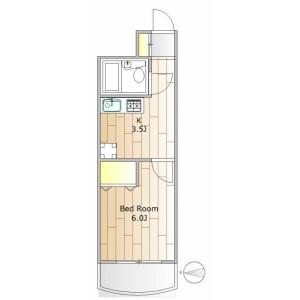 1K 맨션 in Megurohoncho - Meguro-ku Floorplan