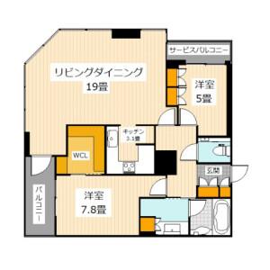2LDK Mansion in Koraibashi - Osaka-shi Chuo-ku Floorplan