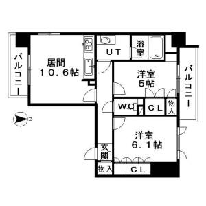 2LDK Mansion in Honcho - Nakano-ku Floorplan