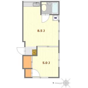 1LDK Mansion in Nakazato - Kita-ku Floorplan